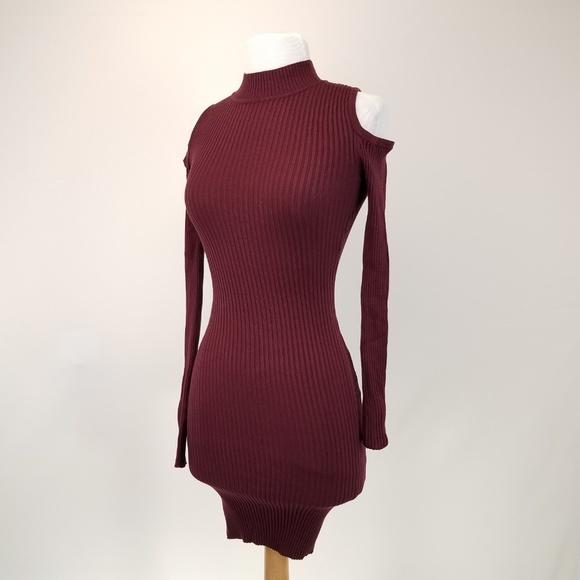719d1b632f PLANET GOLD Rib Knit Mini Dress Cold shoulder NWT